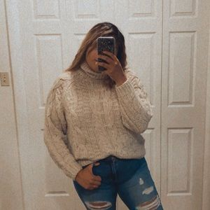 SOLD H&M Chunky cable sweater cream turtleneck